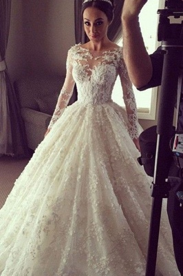Charming Princess Ball Gown Wedding Dresses | 3D-Floral Appliques Long Sleeves Bridal Gowns_2