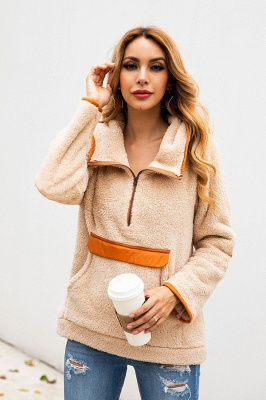 Women's Fall Winter Halp Zip Fuzzy Pullovers With Pockets