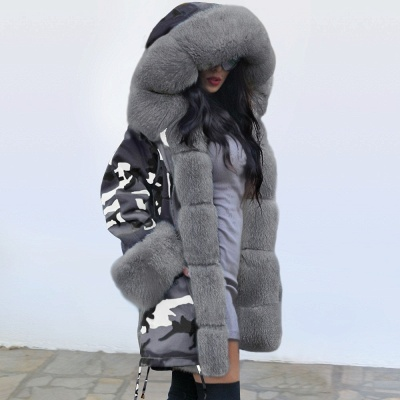 Camo Military Fur Lined Parka Coat with Faux Fur Hood_11
