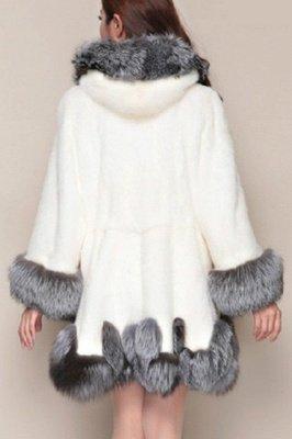 Women's Fashion Hooded White Fox Fur Coat_8