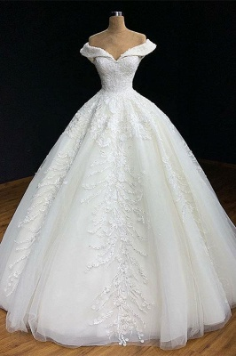 Gorgeous Off-The-Shoulder Ball-Gown Appliques Wedding Dress_1