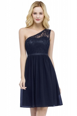 Cheap A-line Short Scoop Lace Top Chiffon Bridesmaid Dress in Stock_1