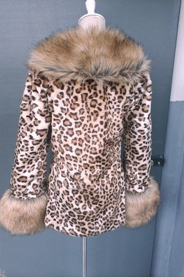 Leopard Print Faux Fur Taffeta Coat With Premium Fox Fur Trim_7