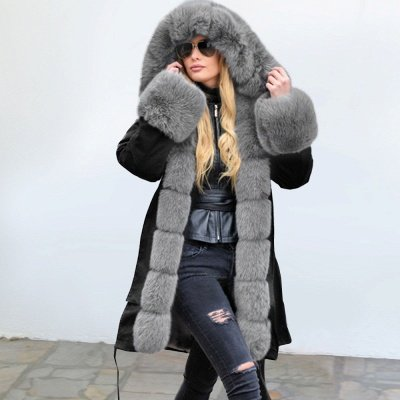 Premium Fur Trimmed Parka Coat with Faux Fur Hood_4