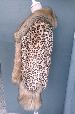 Leopard Print Faux Fur Taffeta Coat With Premium Fox Fur Trim_8