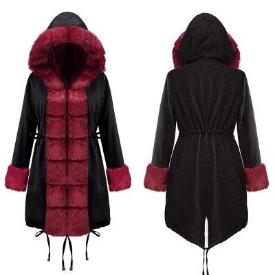 Premium Fur Trimmed Parka Coat with Faux Fur Hood_16