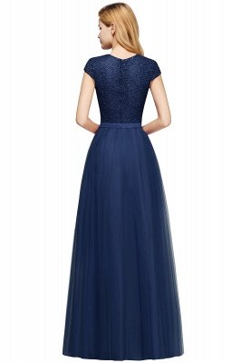 Cheap A-line Jewel Tulle Lace Bridesmaid Dress in Stock_22