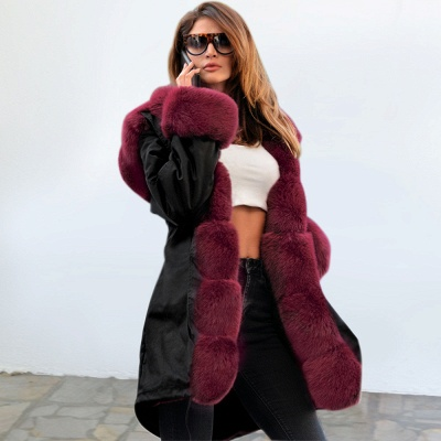 Premium Fur Trimmed Parka Coat with Faux Fur Hood_27