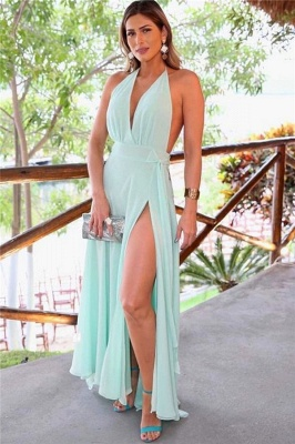 Easy Designed Halter A-line V-neck Side Slit Prom Dresses