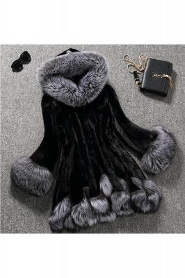 Women's Fashion Hooded White Fox Fur Coat_3