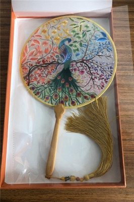 Chinese Traditional Hand-Embroidered Magpie Circular Fan With Wave Side_9