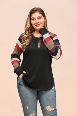 Striped Sleeves Buttoned Slim Fit Plus Size Women's Shirts