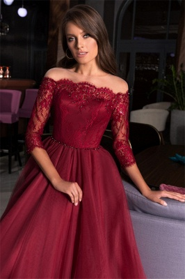 Gorgeous Off the Shoulder A-line Lace Tulle Prom Dresses_3