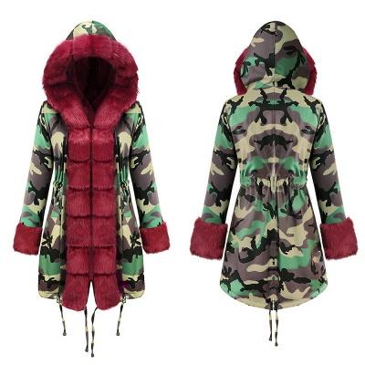 Camo Military Premium Fur Trim Parka Coat with Faux Fur Hood_15