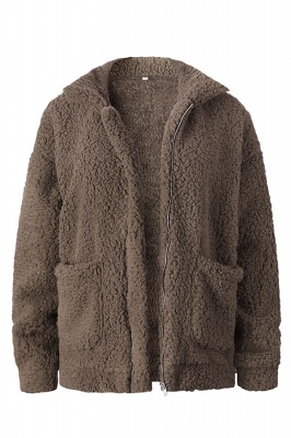 Oversize Fuzzy Jacket in Brown with Zipper_4