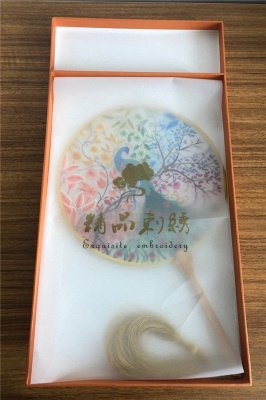 Chinese Traditional Hand-Embroidered Magpie Circular Fan With Wave Side_8
