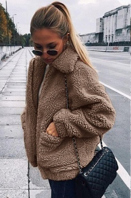Oversize Fuzzy Jacket in Brown with Zipper_16