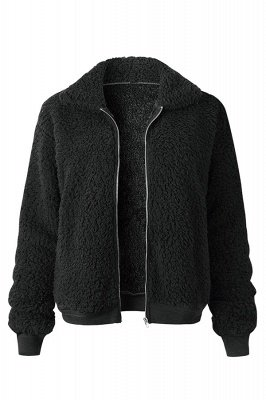 Thick Oversized Faux Shearling Coat with Zipper_3