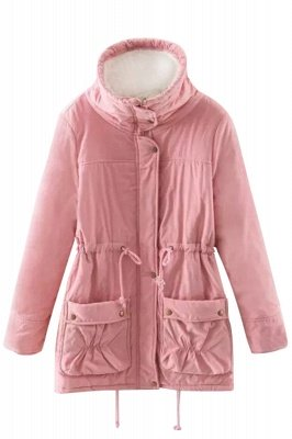 Women's Fashion Hunt Lamb Wool Collar Parka Coat_24