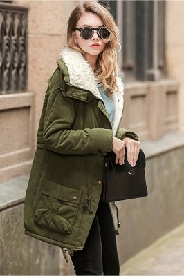Women's Fashion Hunt Lamb Wool Collar Parka Coat_8