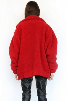 Oversize Fuzzy Jacket in Brown with Zipper_35