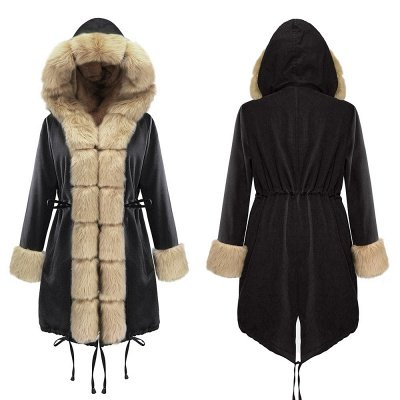 Premium Fur Trimmed Parka Coat with Faux Fur Hood_15