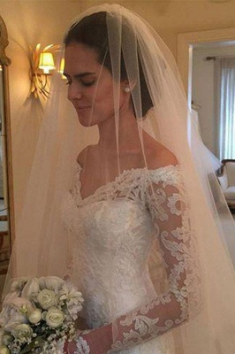 Long Sleeves Off-the-Shoulder Court Train Sheath Lace Wedding Dresses_3