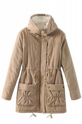 Women's Fashion Hunt Lamb Wool Collar Parka Coat_19