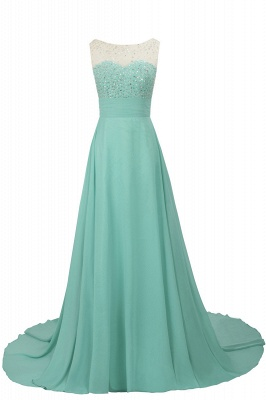 Cheap Grape A-line Sleeveless Sweep Train Prom Dress_4