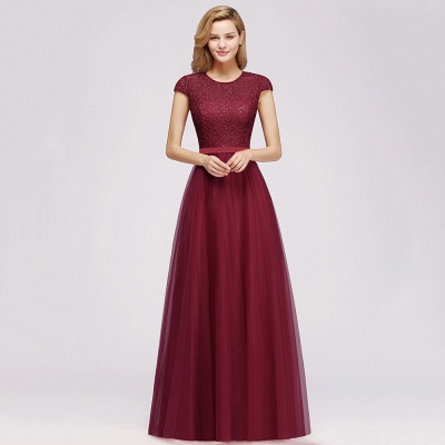 Cheap A-line Jewel Tulle Lace Bridesmaid Dress in Stock_9
