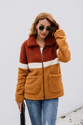 Women's Winter Multi Color Patchwork Faux Shearling Coat_6