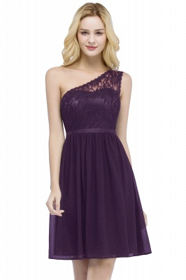 ROSA   A-line Short One-shoulder Lace Top Chiffon Homecoming Dresses with Sash_2
