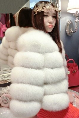 Tiered Fox Fur Coat with Full Fur Collar and Cuffs