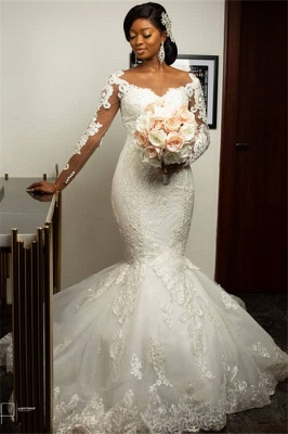 Form-Fitting Long Sleeves Applique Mermaid Wedding Dresses | Gorgeous Trumpet Bridal Gown