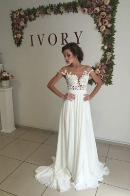 Glamorous Lace Appliques Side Slit A-line Chiffon Beach Wedding Dresses_2