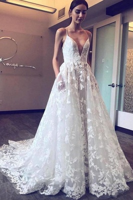 Gorgeous V-Neck Spaghetti Straps Tulle Applique Wedding Dresses_2