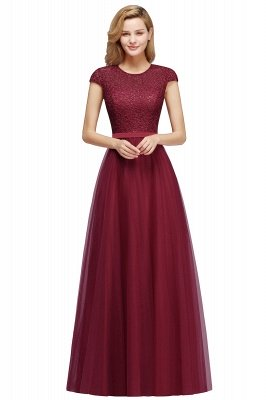 Cheap A-line Jewel Tulle Lace Bridesmaid Dress in Stock_2