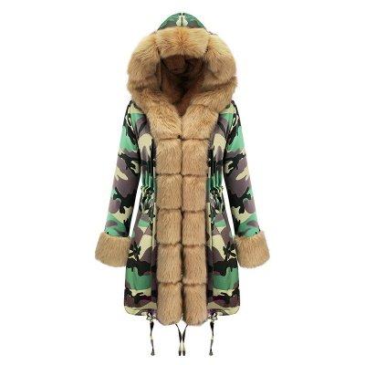 Camo Military Premium Fur Trim Parka Coat with Faux Fur Hood_33