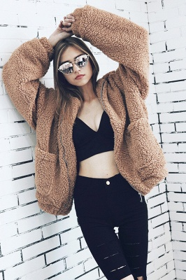 Oversize Fuzzy Jacket in Brown with Zipper_23