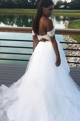Chic Off the Shoulder Sweetheart Wedding Dresses_2