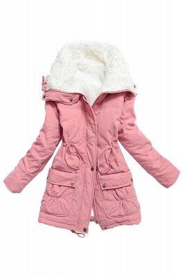 Women's Fashion Hunt Lamb Wool Collar Parka Coat_15