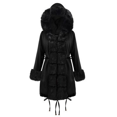 Premium Fur Trimmed Parka Coat with Faux Fur Hood_29