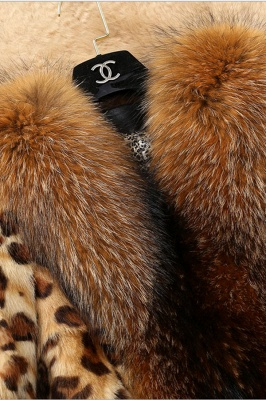 Leopard Print Faux Fur Taffeta Coat With Premium Fox Fur Trim_6