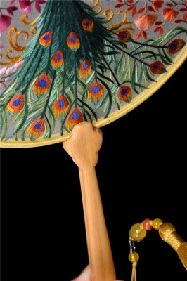 Retro Double-Sided Hand-Stitched Decoration Chinese Circular Fan With Tassel Pendant_5