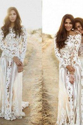 Column Bateau Long Sleeves Open Back Lace Wedding Dress_4