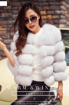 Tiered Fox Fur Coat with Full Fur Collar and Cuffs_13