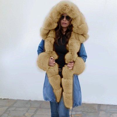 Parka Coat with Premium Fur Trim and Faux Fur Hood_2