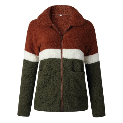 Women's Winter Multi Color Patchwork Faux Shearling Coat_2
