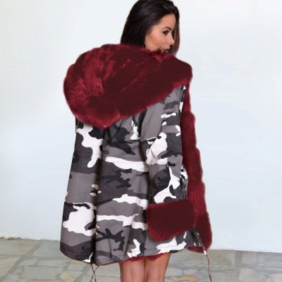 Camo Military Fur Lined Parka Coat with Faux Fur Hood_7