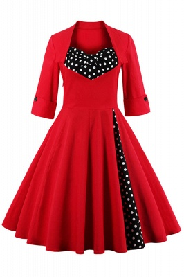 Vintage 1/2 Sleeve Polka Dot Patchwork Swing Dress
